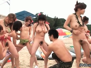 Outdoor run aground sex with a hot group part2