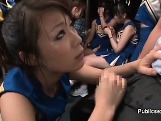 Horny asian cheerleader is frying on the part2