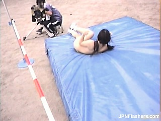 gorgeous asian babe runs naked and jumps