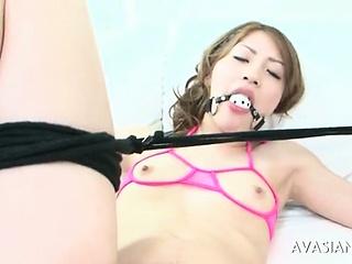 Subjection asian girl enjoying hard bdsm fuck