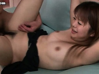 Flimsy asian pussy jumps on cock