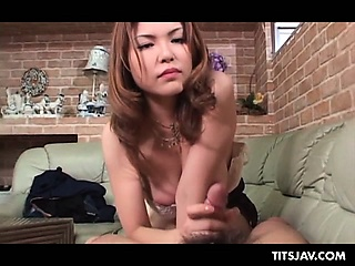 Disingenuous jap redhead in big pair disloyal loaded cock with thirst for