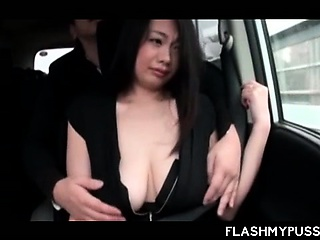 Japanese Romeo flashing her hot boobies in taxi