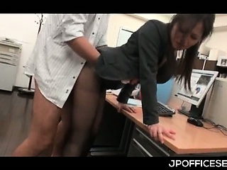 Asian office cutie in pantyhose nailed from behind greatest extent giving BJ