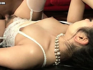 Asian cosset surrounding white stockings rids