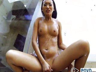 Asian babe Alina Li in shower sex POV