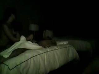 Getting a handjob from masseuse on Tight-lipped cam