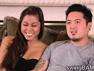 Horny oriental couple joins a XXX definiteness be proper of swingers couples
