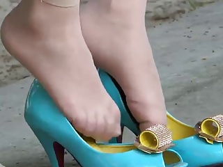Candid Asian Shoeplay in chap-fallen high heels and nylons