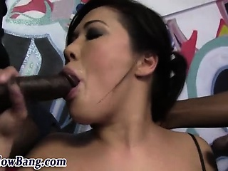 Asian battle-axe sucks big black dicks