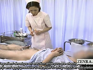Subtitled medical CFNM handjob cumshot give Japan pains
