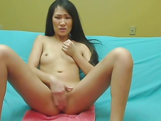 Asian Pamper Moans Loudly as she Masturbates on Webcam
