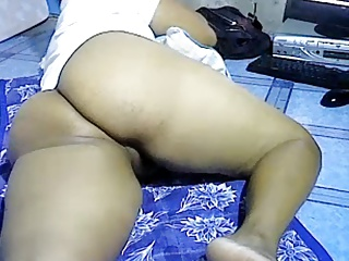 Asian girl showing obese curtain ass on webcam