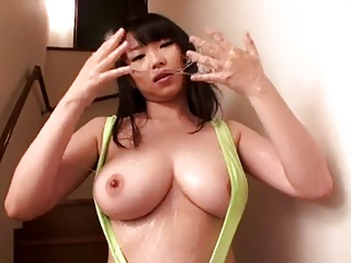 Oil amusement more busty Japanese Akane Yoshinaga in bikini