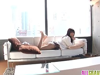 Kana Anzai in uniform shows sexy trotters