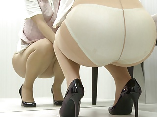 Japanese cutie puts on her panties plus pantyhose, upskirt.