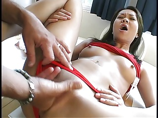 Midget asian bottomless gulf throats a huge cock then gets creamy facial