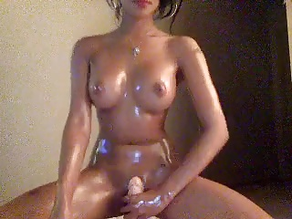 Hott Asian Oils Up & Rides Dildo On Cam