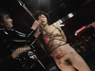 Tied in Asian babe treated to a transparent bdsm prizefight