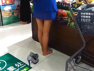 Candid Asian Nylons Paws & Wings at Market Pantyhose