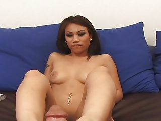 Through-and-through Asian Jerks Off Cock With Down in the mouth Feet