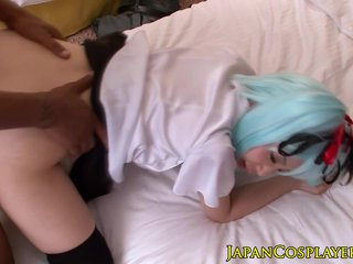 Asian teen fucks a black load of shit as Hatsune Miku