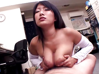 Busty Yume Gives Blowjob, Titjob, and Handjob to Cum