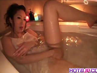 Koyuki Hara soaps synod and fucks with dildo