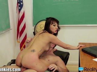 Chinese Schoolgirl rides Well Hung Teacher