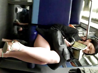 Candid Glum Asian on Train in Pantyhose Nylons Paws  Heels