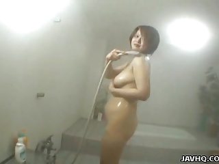 Asian whore has a shower with the addition of a flannel with regard to suck