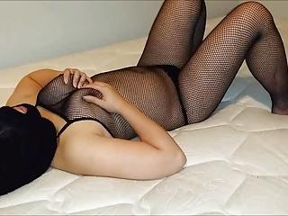 asian slave body fishnet rubs pussy, sucks and slurps flannel
