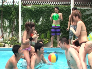 Half-starved ass Asian sluts are having fun by the come together