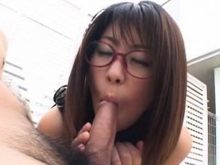 Mimi Kousaka with specs licks hard penis