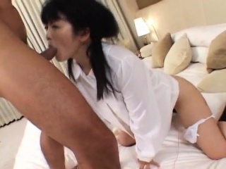 Tomoe gets fucked deep in her creamy bed out
