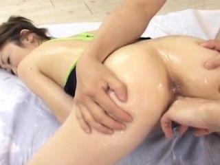 Hinano Shirosaki massaged with oil and fucked
