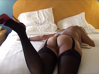 HANDJOB Be useful to ASIAN MILF Concerning BLACK LINGERIE