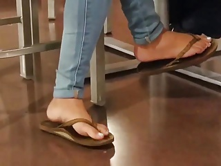 Candid Feet Shoeplay Flip Flops at Lunch