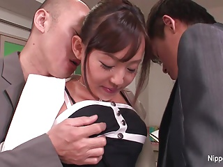 Young new situation intern gets initiated with one hard cocks
