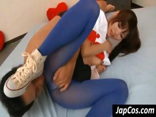 Young Asian gal in blue pantyhose gets rubbed by his fingers with an increment of dick