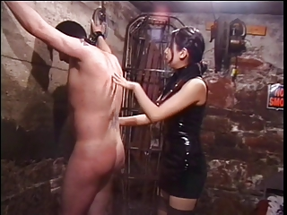 Cute asian dominatrix whips sex slave respecting subjugation basement