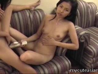 Cute lesbian girls fucking relating to dildo!