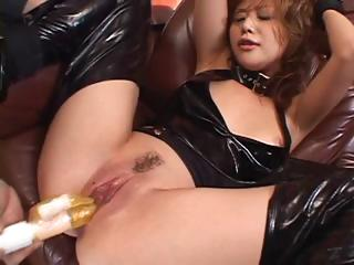 Japanese girl dressed in latex gets their way pussy pokes and squirts