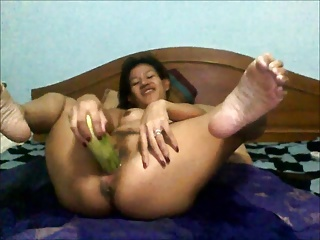 Auir pongmee cucumber play with creampie accomplishing
