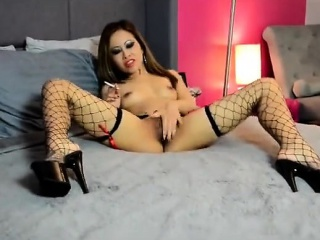 asian outstanding elegance smoking together with masturbating