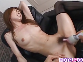 Japanese AV Model gets vibrator after blowjob