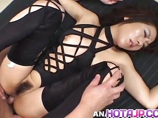 Tsubasa Okina grouchy Asian milf in black sucks yoke fat cock