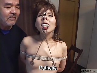 Subtitled CMNF Japanese BDSM toilet water hooks increased by more