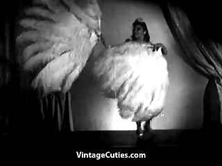 Asian Beauty Performs Scanty Feather Dance (1940s Vintage)