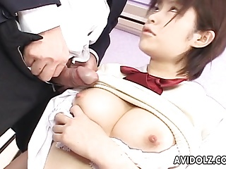 Asian old bag sucking hard beyond the big fat dick
